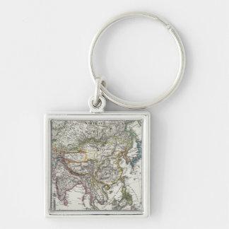 Asien karta vid Stieler Fyrkantig Silverfärgad Nyckelring