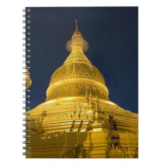Asien Maynmar, Yangon, buddistiskt tempel i Yangon Anteckningsbok Med Spiral