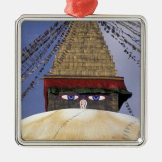 Asien Nepal, Kathmandu. Bouddhanath Stupa. 2 Julgransprydnad Metall