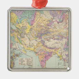 Asien u Europa - kartbokkarta av Asien och Europa Julgransprydnad Metall