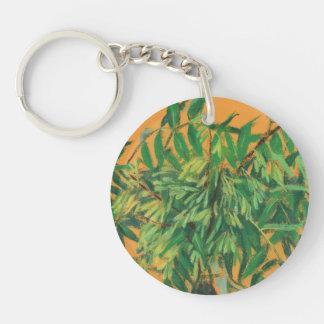 Aska-träd för sommargrönska för grönt gul konst rund enkelsidig nyckelring i akryl