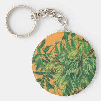 Aska-träd för sommargrönska för grönt gul konst rund nyckelring