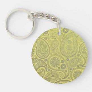 Askavit paisley på gul bakgrund dubbelsidigt rund akryl nyckelring