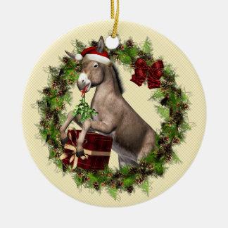 Åsna som ha på sig den Santa hatten i Julgransprydnad Keramik