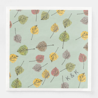 Asp- löv för Handpainted vattenfärg på vis Papper Servett