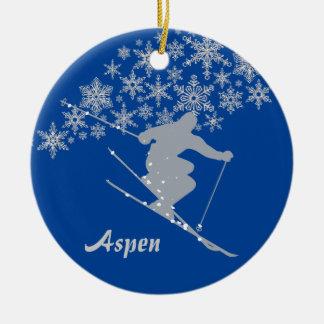 Asp- SnowflakeSkierpersonlig Julgransprydnad Keramik
