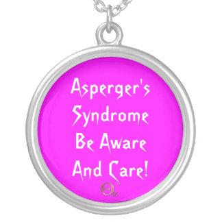 Aspergers syndrom är medvetet och omsorg! silverpläterat halsband