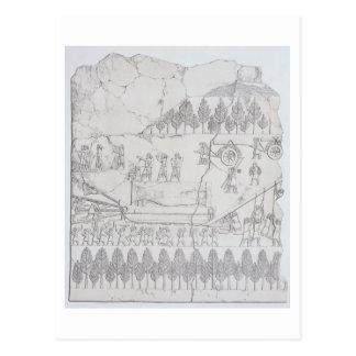 Assyrier som flyttar en bevingad tjur på en pulka, vykort