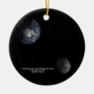 Asteroid 2012 DA14 som passerar jorden Feb. 15, Rund Julgransprydnad I Keramik