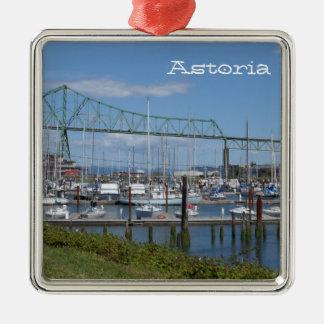 Astoria Oregon Silverfärgad Fyrkantigt Julgransprydnad