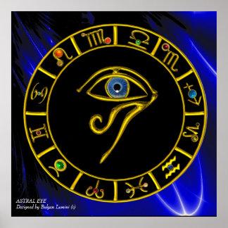ASTRAL Zodiac för den HORUS-ÖGA-/BLÅTTTALISMANEN Poster