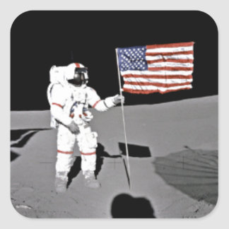 Astronaut Alan Shepard, amerikanska flaggan på Fyrkantigt Klistermärke