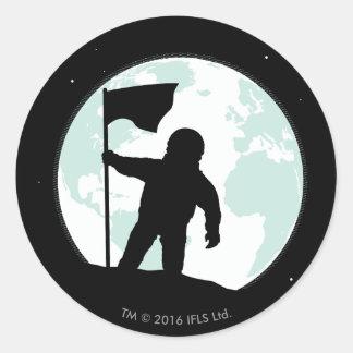 AstronautSilhouette Runt Klistermärke