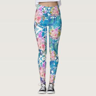 Asymmetrical stam- blom- blåttmarmordamasker leggings