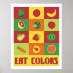 Äta affischen för färger frukt och grönsak posters