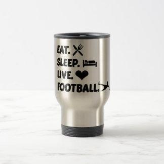 Äta den levande fotbolltravel mug för sömn med rostfritt stål resemugg