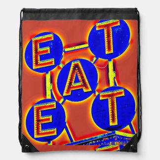 äta den röd och blåttdrawstringryggsäcken gympapåse