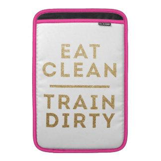 Äta det rena tåg smutsar ner det guld- glitterlogo sleeves för MacBook air