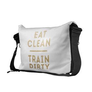 Äta det rena tåg smutsar ner glitterbudbärare som  kurir väska