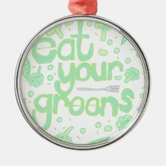 äta dina gröntar julgransprydnad metall