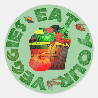 Äta dina Veggies Runt Klistermärke