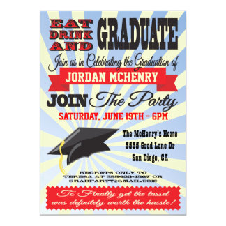 Äta, dricka och avlägga examen! Studentkort 12,7 X 17,8 Cm Inbjudningskort