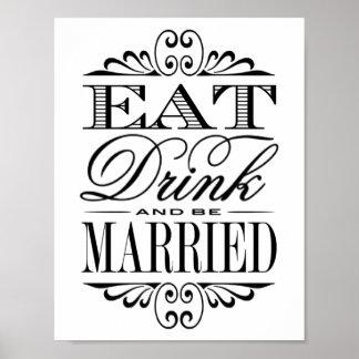 Äta, drinken & att gifta sig - vitbröllop poster