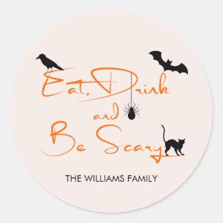 Äta drinken och var den läskiga Halloween Runt Klistermärke