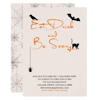Äta drinken och var det läskiga halloween 12,7 x 17,8 cm inbjudningskort