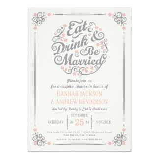 Äta drinken och var gift parduschinbjudan 12,7 x 17,8 cm inbjudningskort