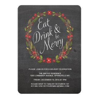 Äta, drinken och var god julpartyinbjudan 12,7 x 17,8 cm inbjudningskort