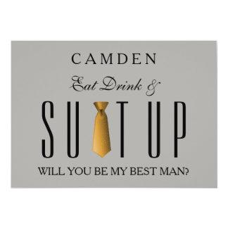 Äta drinken, & Suitup guld ska dig är min Bestman 12,7 X 17,8 Cm Inbjudningskort