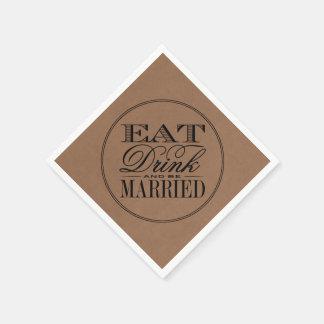 Äta, drinken & var att gifta sig lantligt Kraft Servetter