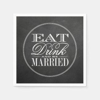 Äta, drinken & var att gifta sig svart papper servett