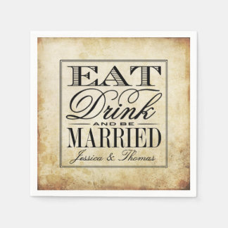 Äta, drinken & var att gifta sig vintage bröllop servett