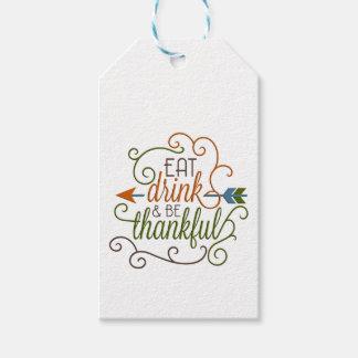 Äta drinken & var hängande märkre för tacksam gåva presentetikett