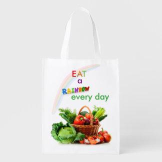 Äta en återvinningsbar matkasse för regnbåge återanvändbar påse