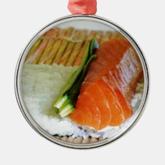 Äta fisken för lax för sesam för ris för Sushimat Julgransprydnad Metall