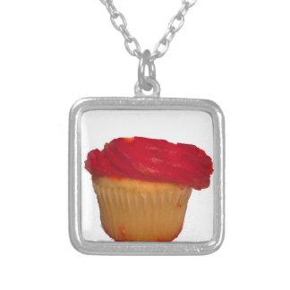 Äta min muffin silverpläterat halsband