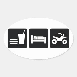 Äta sömn ATV Ovalt Klistermärke