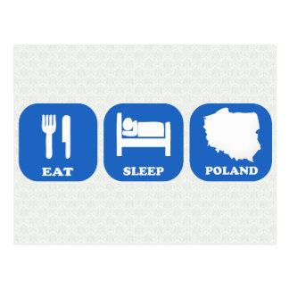 Äta sömn Polen Vykort