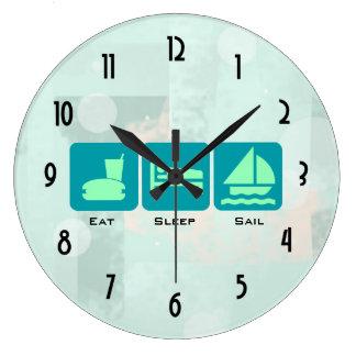 Äta sömn seglar grön platt halmhattdesign stor klocka