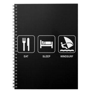 Äta sömn vindsurfar anteckningsbok