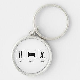 Äta sömnGolf Keychain Rund Silverfärgad Nyckelring