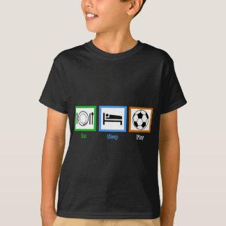 Äta sömnlekfotboll tshirts