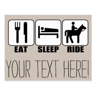 Äta sömnritten en rida hästryttare vykort