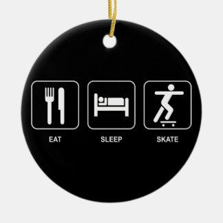 Äta sömnskridskoprydnaden julgransprydnad keramik