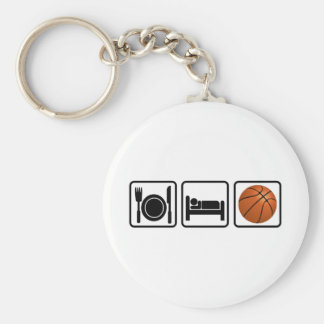 Äta, sova, basket rund nyckelring