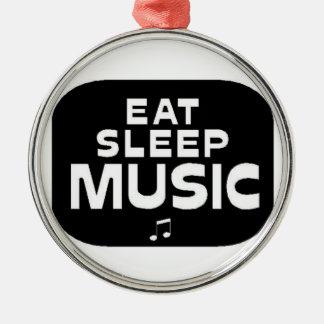 Äta, sova, musik julgransprydnad metall