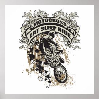 Äta, sova, rida motocrossen poster